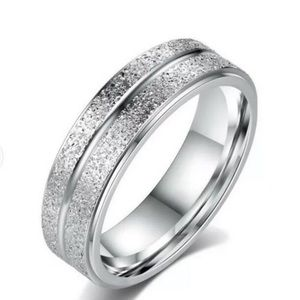 Stainless Steel Brushed Diamond cut Ring size 7